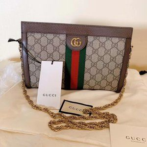 😂Gucci👏 Ophidia GG Small Shoulder Bag Brown